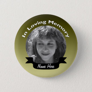 Gold Colored Memorial Button Badge