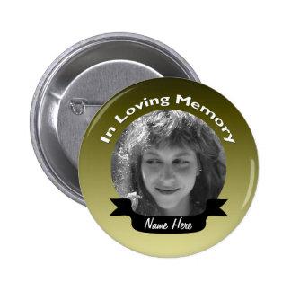 Gold Colored Memorial Button Badge