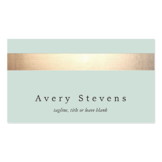 Gold Colored Striped Modern Light Blue Chic Business Cards