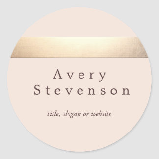 Gold Colored Striped Modern Light Pink Chic Classic Round Sticker