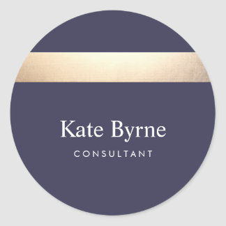 Gold Colored Striped Modern Navy Blue Chic Classic Round Sticker