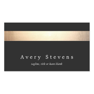 Gold Colored Striped Modern Stylish Charcoal Double-Sided Standard Business Cards (Pack Of 100)