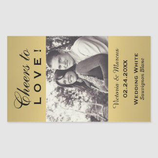 Gold Colored Wedding Photo Wine Bottle Favor Rectangular Sticker