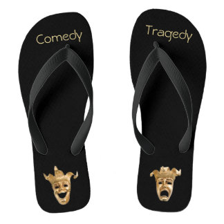 Gold Comedy and Tragedy Masks Theater Flip Flops