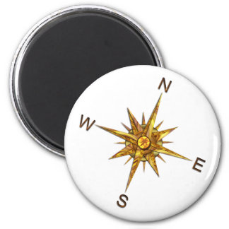 Gold Compass Points Navigation Fridge Magnet