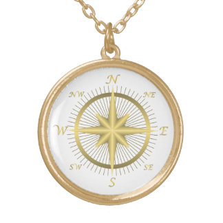 Gold Compass Round Pendant Necklace