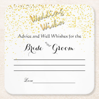 Gold Confetti, Advice and Well Wishes Square Paper Coaster