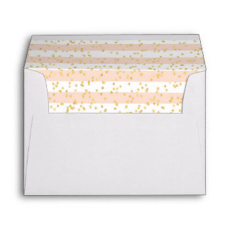 Gold Confetti Against Blush Pink Stripes Lined Envelope