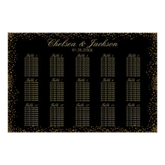 Gold Confetti and Black - 15 Seating Chart