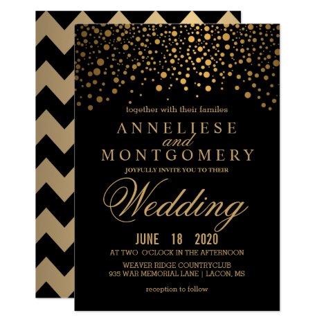 Gold Confetti and Black Wedding Invitation