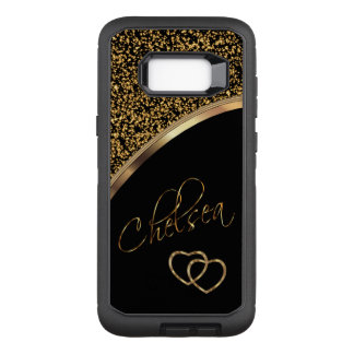 Gold Confetti and Black with Script Name OtterBox Defender Samsung Galaxy S8+ Case