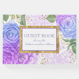 Gold Confetti and Blue and Purple Floral Wedding Guest Book