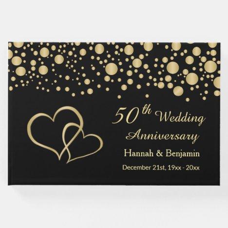 Gold confetti and hearts on black 50th Anniversary Guest Book