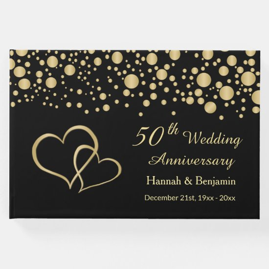 Gold confetti and hearts on black 50th Anniversary Guest Book
