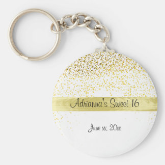 Gold Confetti and Satin, Sweet Sixteen, Party Keychain