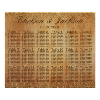 Gold Confetti and Vintage Grunge -18 Seating Chart