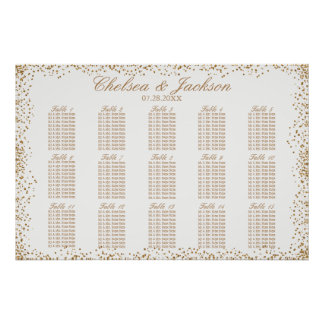 Gold Confetti and White - 15 Seating Chart