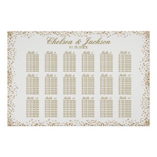Gold Confetti and White - 18 Seating Chart