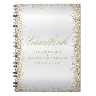 Gold Confetti and White Satin - Guestbook Notebook