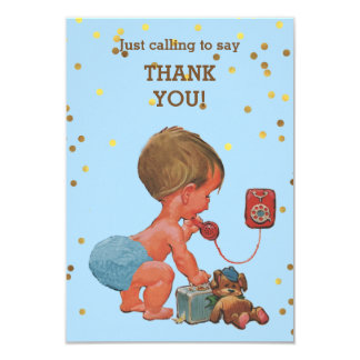 Gold Confetti Baby Boy on Phone Thank You Card