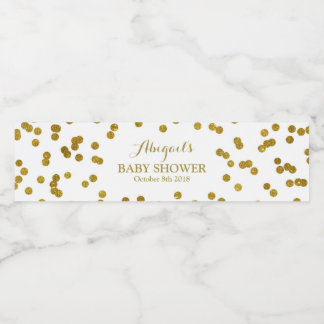 Gold Confetti Baby Shower Water Bottle Label