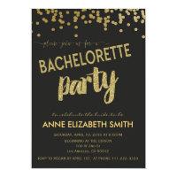 Gold Confetti Bachelorette Party Invitation