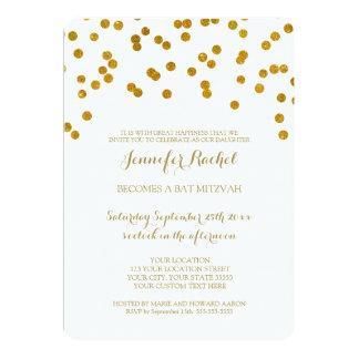 Gold Confetti Bat Mitzvah Invitations
