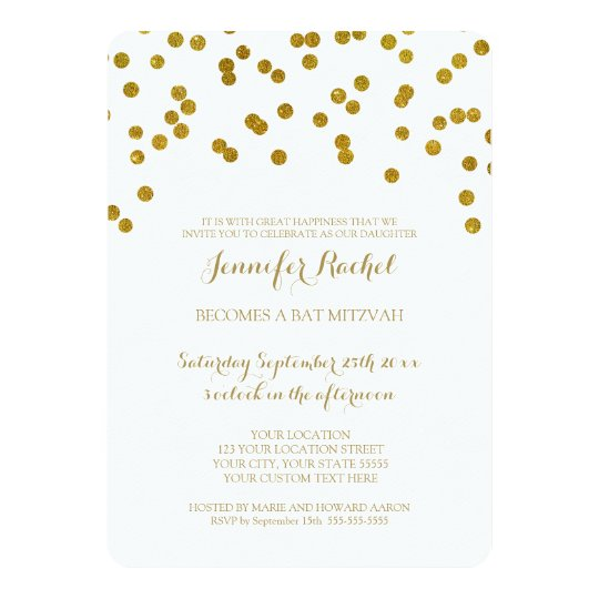 gold confetti bat mitzvah invitations zazzle com