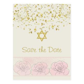 Gold confetti Bat Mitzvah Save the Date Postcard
