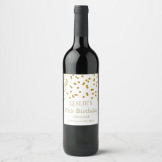 Gold Confetti Birthday Party Wine Label
