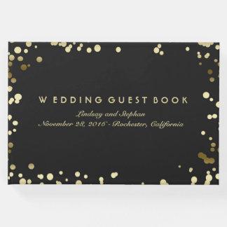 Gold Confetti Black Elegant Wedding Guest Book