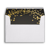 Gold confetti black envelope