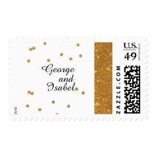 Gold Confetti Black Names Wedding Postage