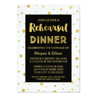 Gold Confetti Black White Rehearsal Dinner Party Card