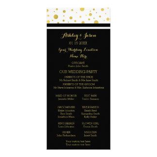 Gold Confetti Black White Wedding Program
