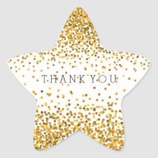 Gold Confetti Bling Thank You Star Sticker