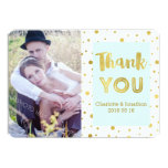 Gold Confetti Blue Wedding Thank You Photo Cards