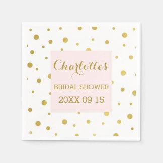 gold confetti blush pink bridal shower napkin