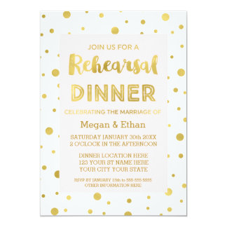 Gold Confetti Blush Pink Rehearsal Dinner Party Card