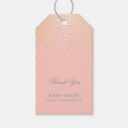Gold Confetti Blush Pink Wedding Thank You Gift Tags