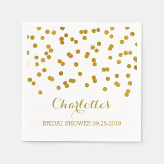 Gold Confetti Bridal Shower Paper Napkin
