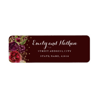 Gold Confetti Burgundy Floral Return Address Label