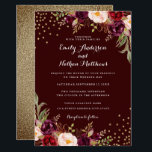 """Gold Confetti Burgundy Floral Wedding Invitation<br><div class=""""desc"""">More pretty Floral Wedding Invitations in the Little Bayleigh store!</div>"""