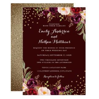 Gold Confetti Burgundy Floral Wedding Invitation