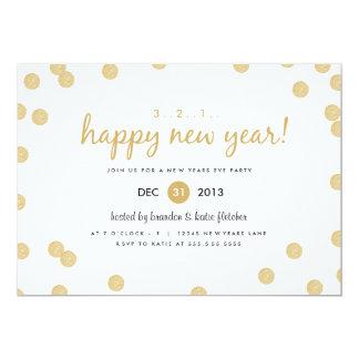 """Gold Confetti by Origami Prints New Years Invite 5"""" X 7"""" Invitation Card"""