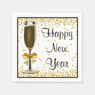 Gold Confetti Champagne Happy New Year Eve Party Paper Napkin