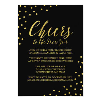 Gold Confetti Cheers New Year's Eve Party Card