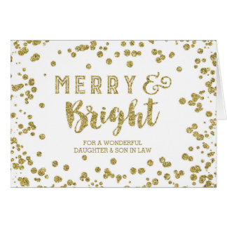 Gold Confetti Christmas Daughter and Son in Law Card