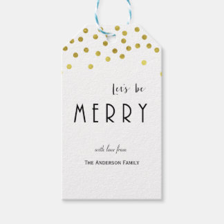 Gold confetti Christmas gift tags