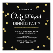 Gold Confetti Christmas Party (Custom Color) Invitation
